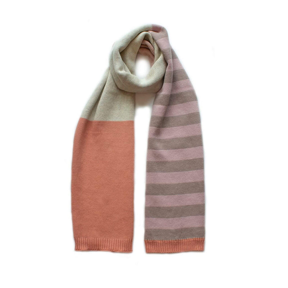 Block stripe scarf in coral, natural and blush.  Made of 100% cotton. Size 30 x 170cm