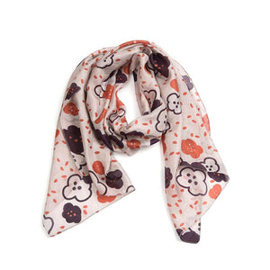 Pretty 100% silk scarf colours include blush, plum and berry.