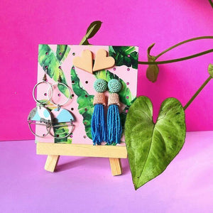 Banana leaf and pink pattern on small wooden earring holder