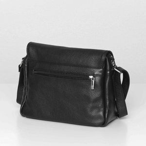 Back view of the Bryn black leather bag.