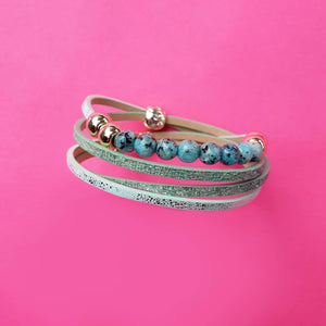 Callie Double Wrap Bracelet Dusty Teal