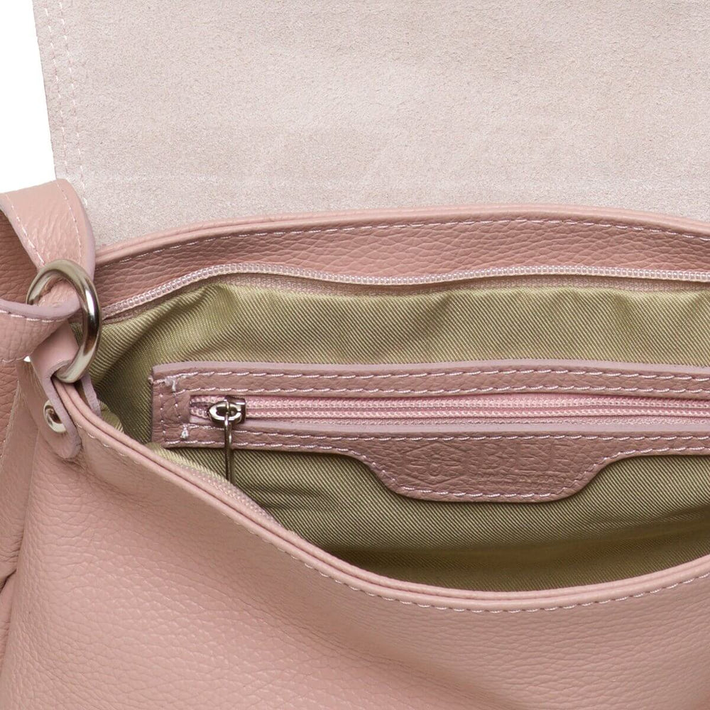 Carey Crossbody blush bag inside