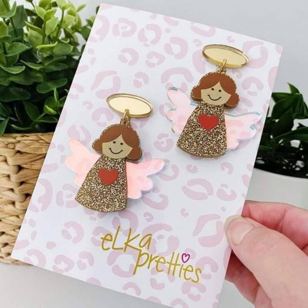 Christmas Angel Earrings Glitter