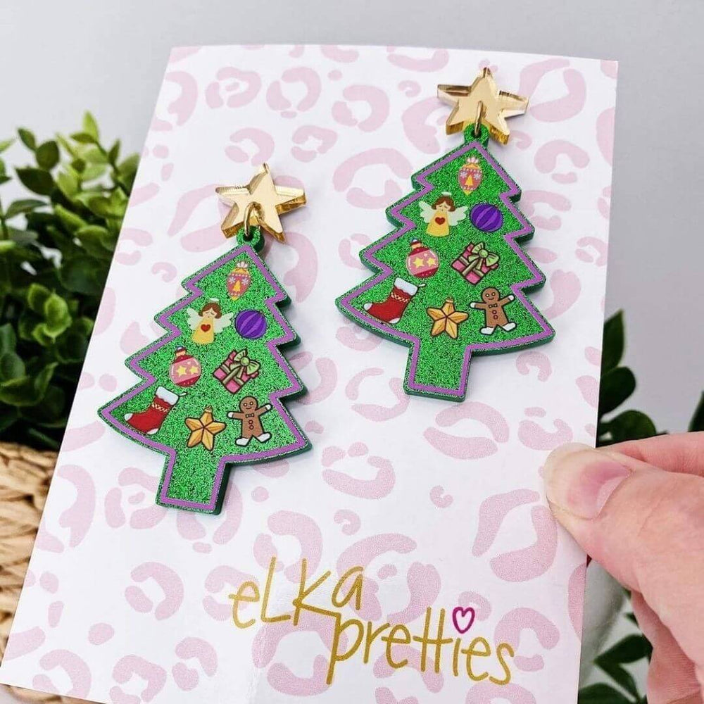 Dec the Tree Earrings Green