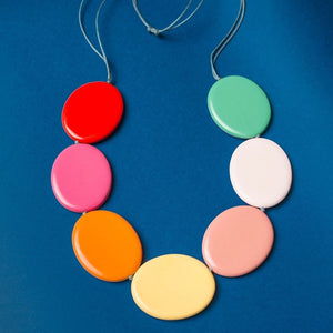 Contrast Flat Disc Necklace Multi