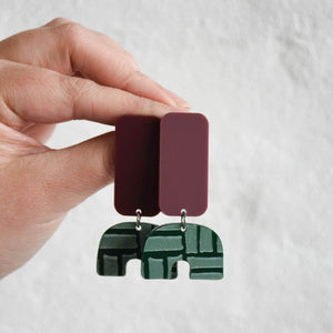 Art inspired earrings in red wine and forest green colourway.