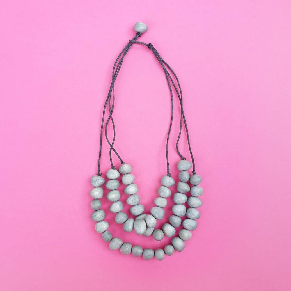 Dino Beads Necklace Light Grey