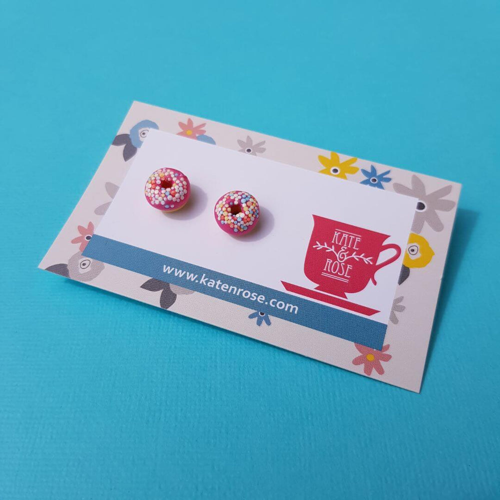 Kate & Rose Donut Stud Earrings Pink
