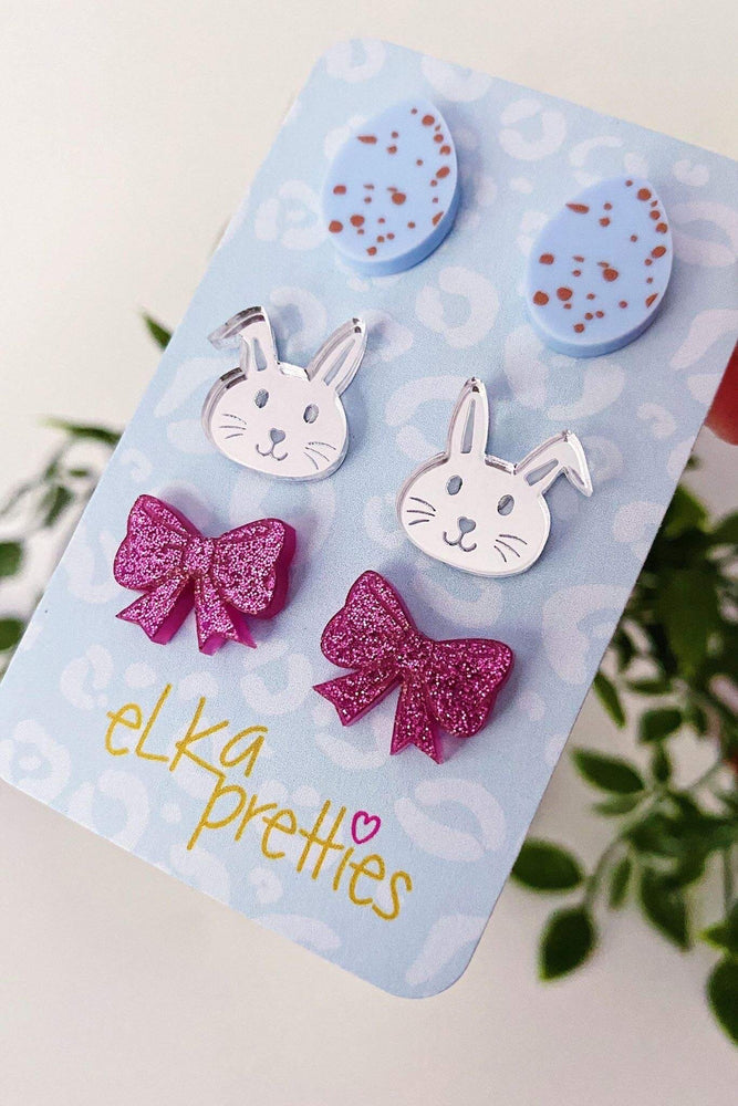 Easter Treats Stud Earrings Blue + Silver + Sparkle Magenta