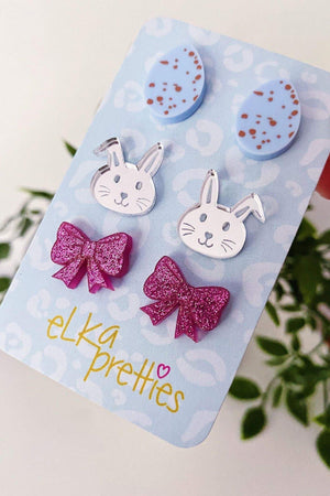 Easter earring 3 pack of studs. Blue Easter eggs, silver bunnies & sparkle magenta bows.