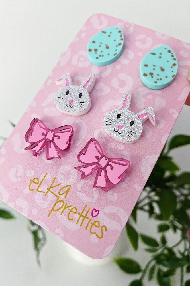 Easter Treats Stud Earrings Spearmint + Sparkle Silver + Pink Mirror