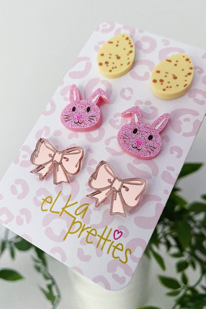 Easter Treats Stud Earrings Yellow + Sparkle Pink + Rose Gold
