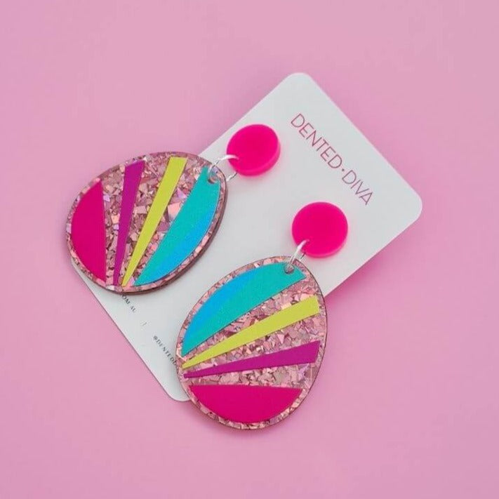 Droplet Statement Earrings Rose Gold Glitter + Stripes