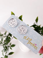 Leopard Stud Earrings Silver Mirror