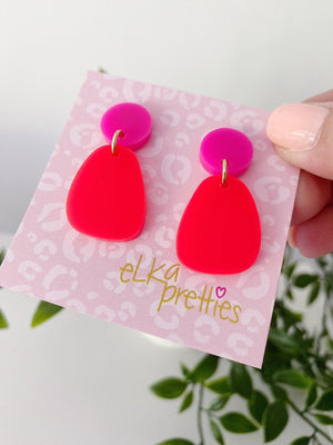 Stella Earrings Neon Red + Hot Pink