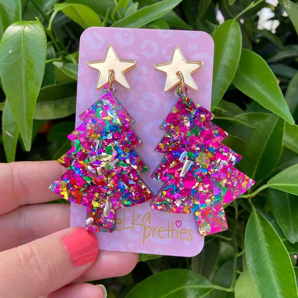 Glitter Tree Earrings Pink
