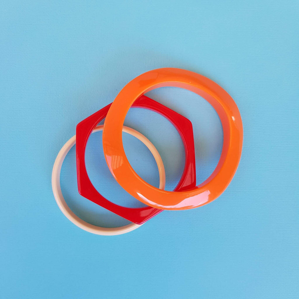 Hexagonal Bracelet Set Red + Orange + Bone