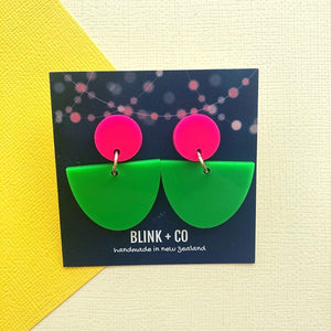 Miss Jennifer Earrings Hot Pink + Lime Green