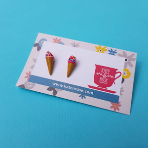 Ice Cream Stud Earrings Pink