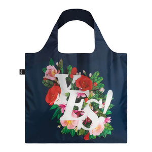Front view of Yes reusable shopping bag.