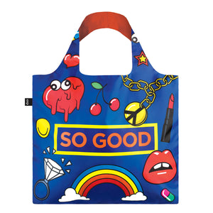 Front view of So Good reusable shopping bag.