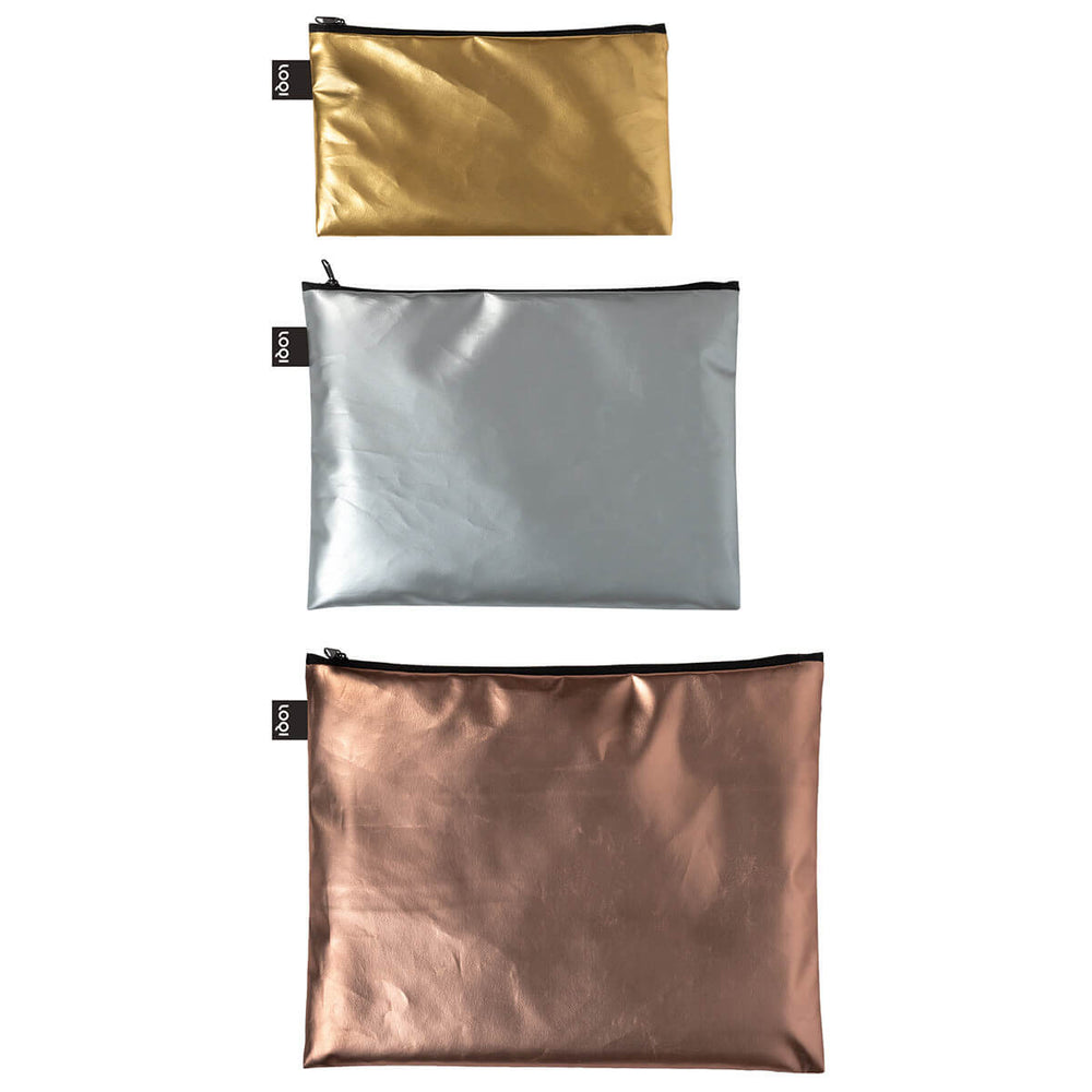 LOQI zip pockets from smallest to largest.