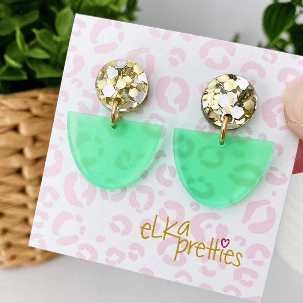 Luna Earrings Frosted Green + Chunky Silver Gold