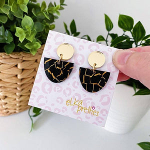 Luna Earrings Rose Gold Mirror + Black Tiger