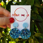 Miley Earrings Matt Blue + Shattered Blue