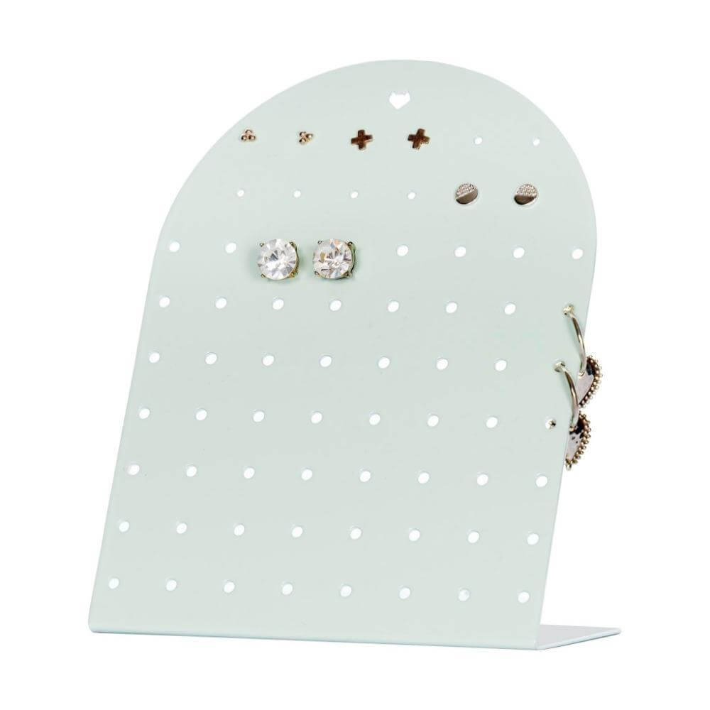 Image shows mint mini earring holder stand on a white background. There are studs attached some very small and hoops are linked on the side.