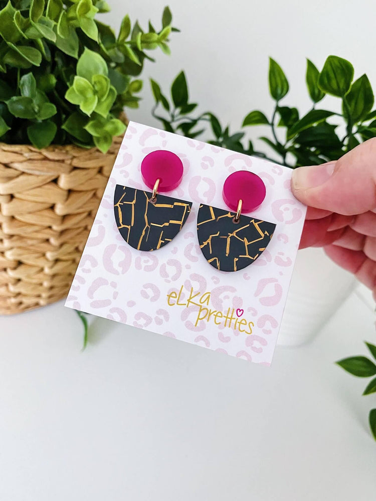 Luna Earrings Magenta + Black Tiger