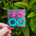 Miss Jessica Earrings Hot Pink + Mint