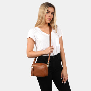 Woman wearing crossbody bag