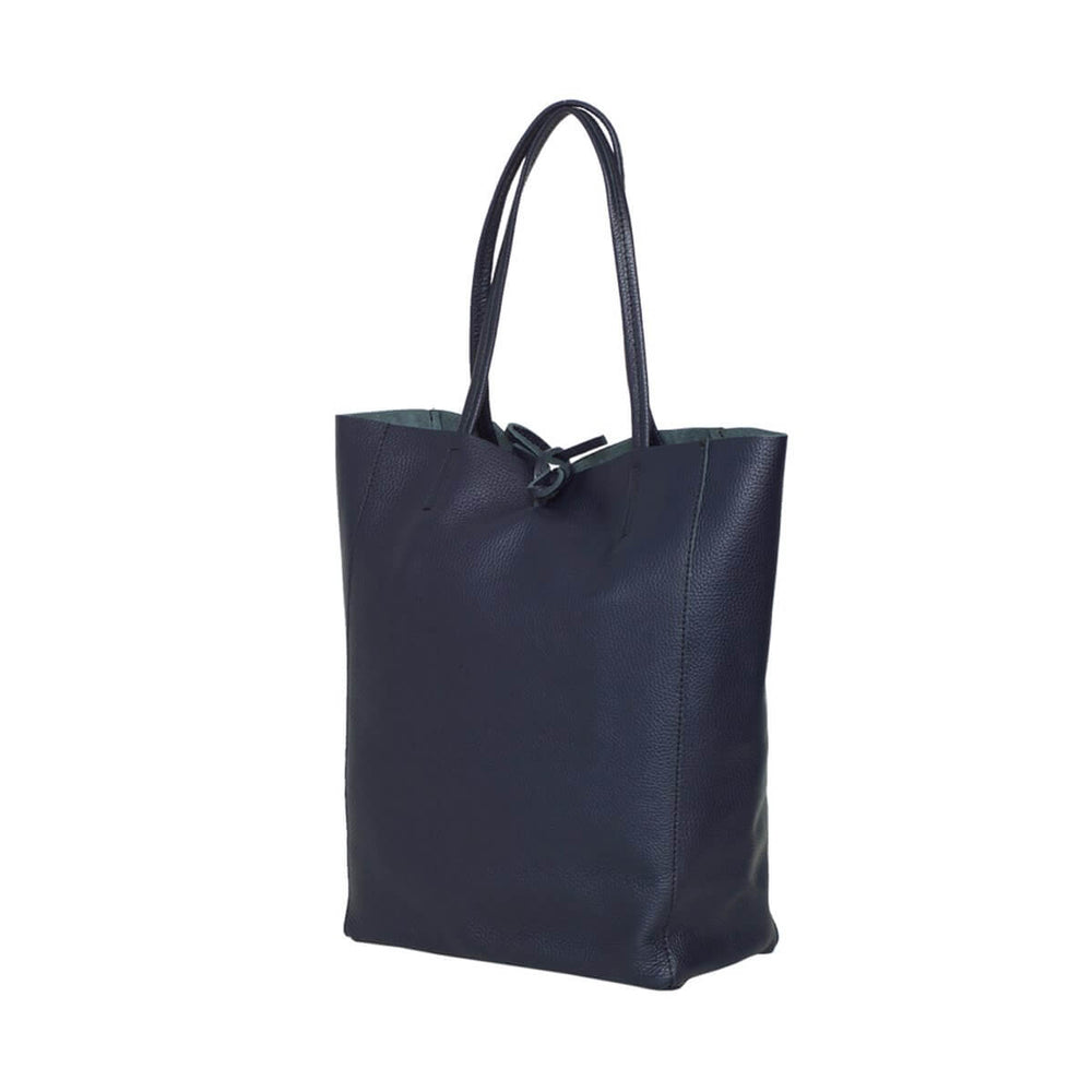 Monica Leather Shopper Bag Navy