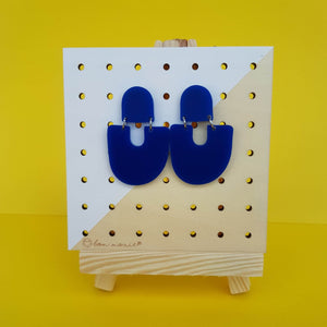 Moops statement earrings in galaxy blue.