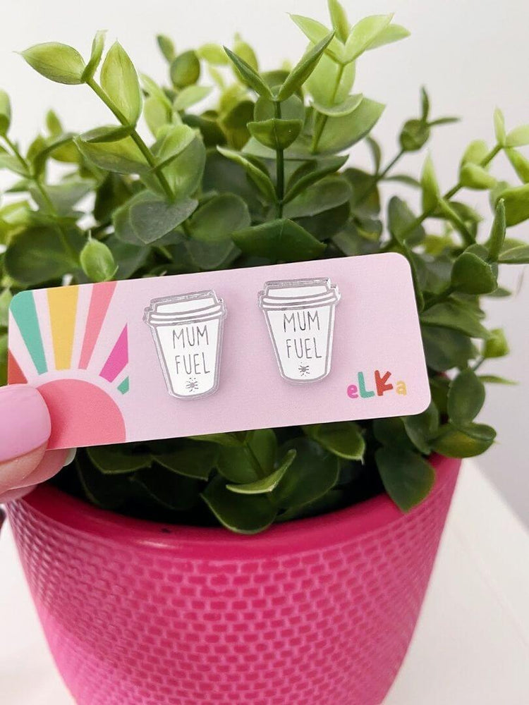 Mum Fuel Coffee Cup Studs Silver Mirror