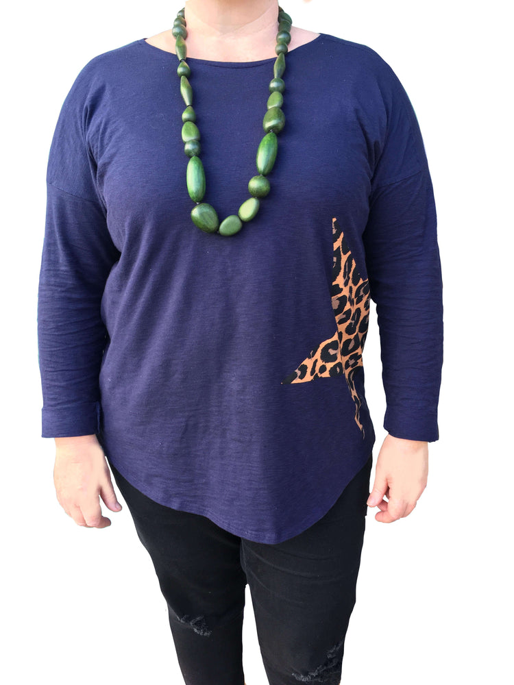 Woman wearing Luna Drop Necklace Olive