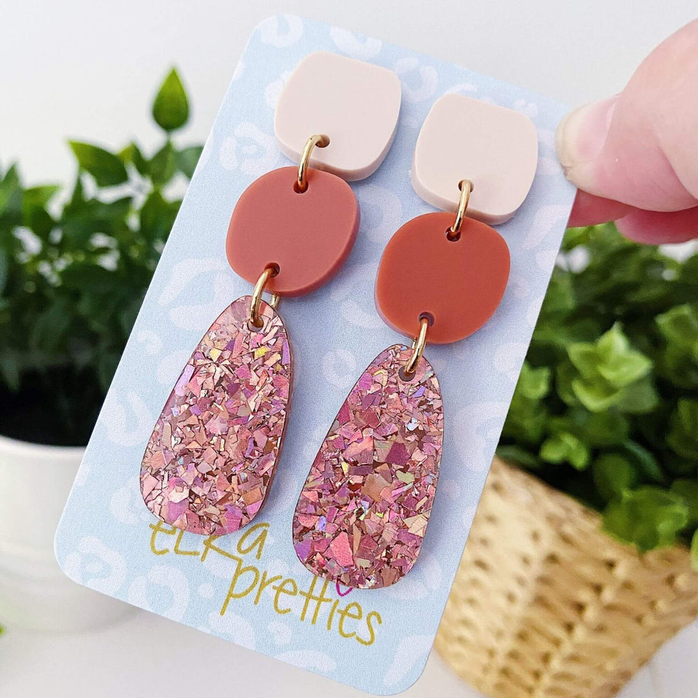 Pebble Earrings Cream + Brick + Rose Gold Glitter