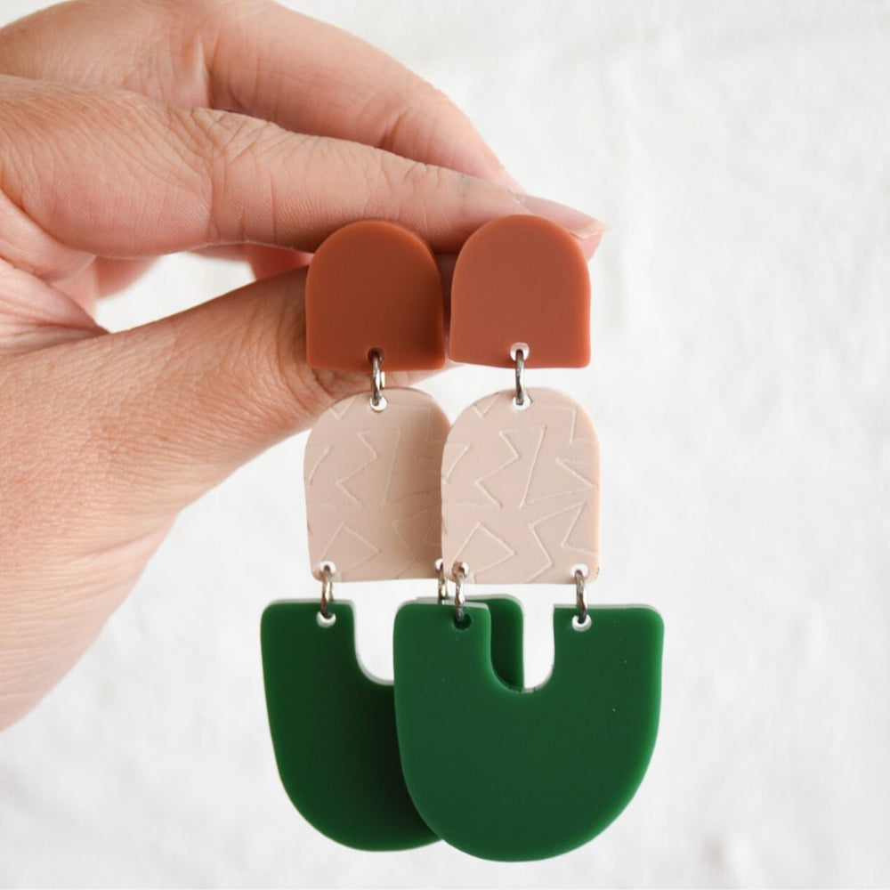 Alisha Earrings Terracotta + Stone + Green