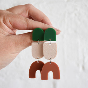 Pink Nade Britnee Earring in Green, stone & terracotta colorway.
