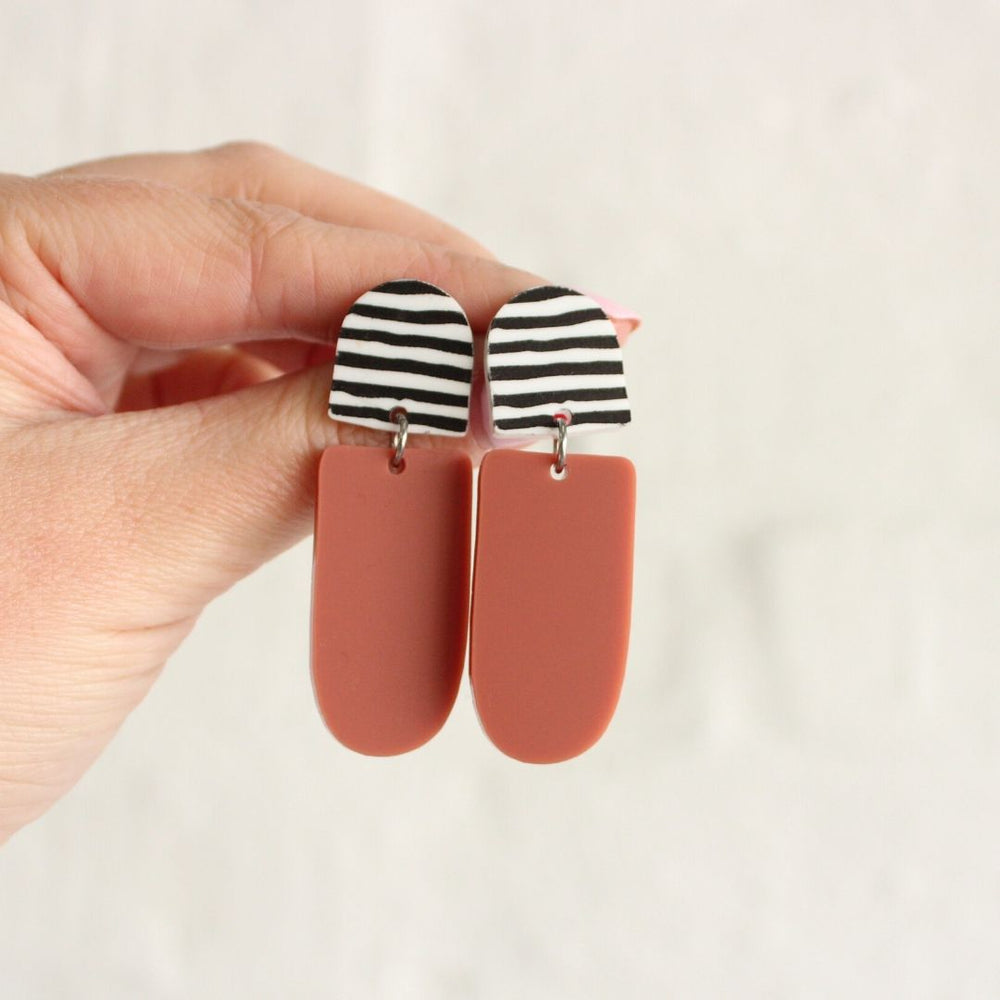 Gabi Earrings Black Stripe + Terracotta