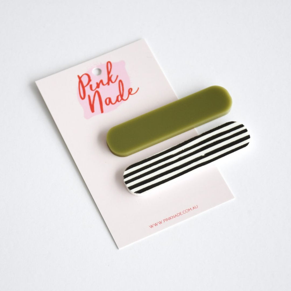 Hair Clips Olive + Black Stripe