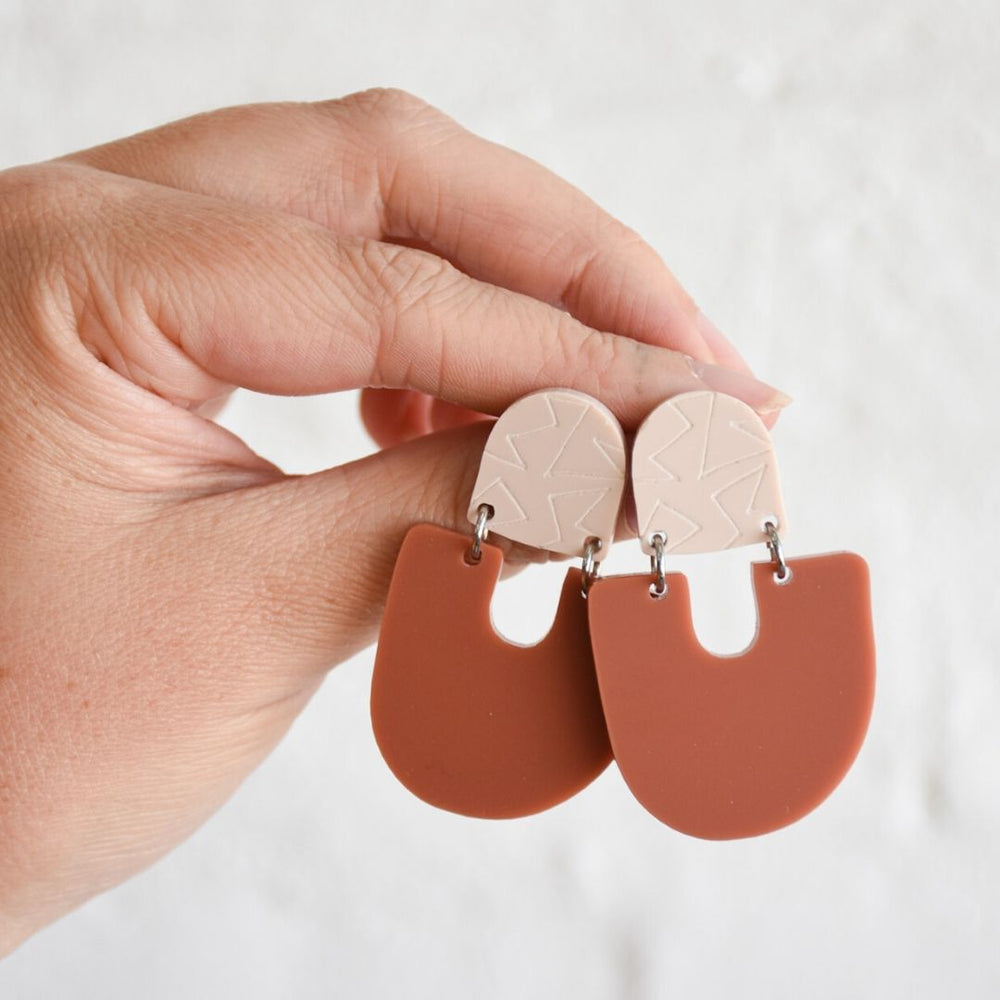 Moops Earrings Stone + Terracotta