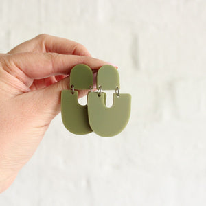 Pink Nade Moops earrings in olive.