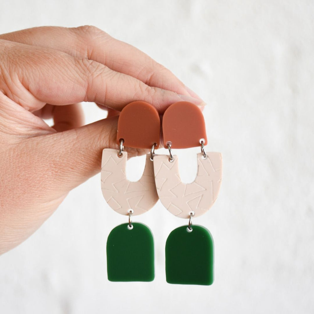 Teagan Earrings Terracotta + Stone + Green