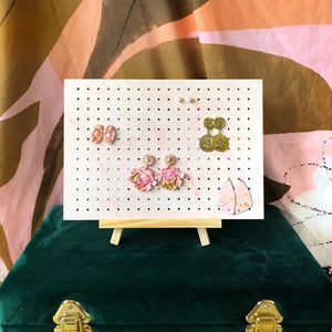 Pink marble earring holder on stand