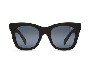 Front view of sunglasses, Quay After Hours black on white background