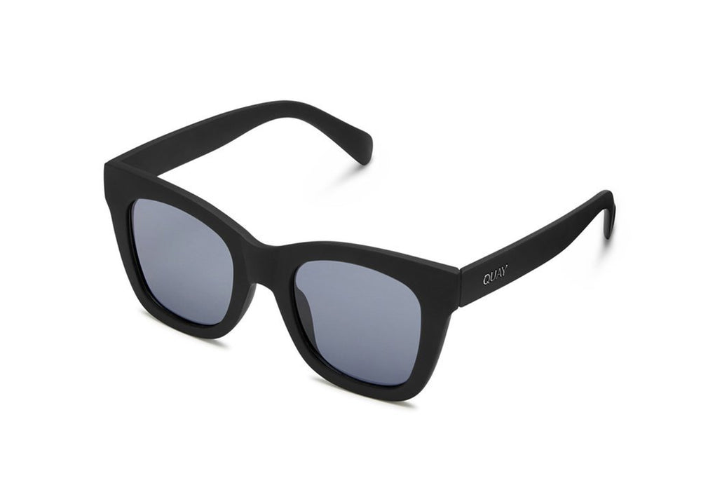 Close up view of Quay black Ever After sunglasses, side view.