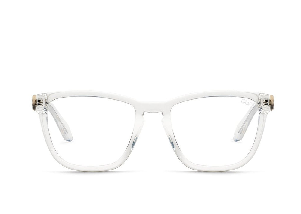 Glasses on a white background. Quay Hardwire with clear frames.