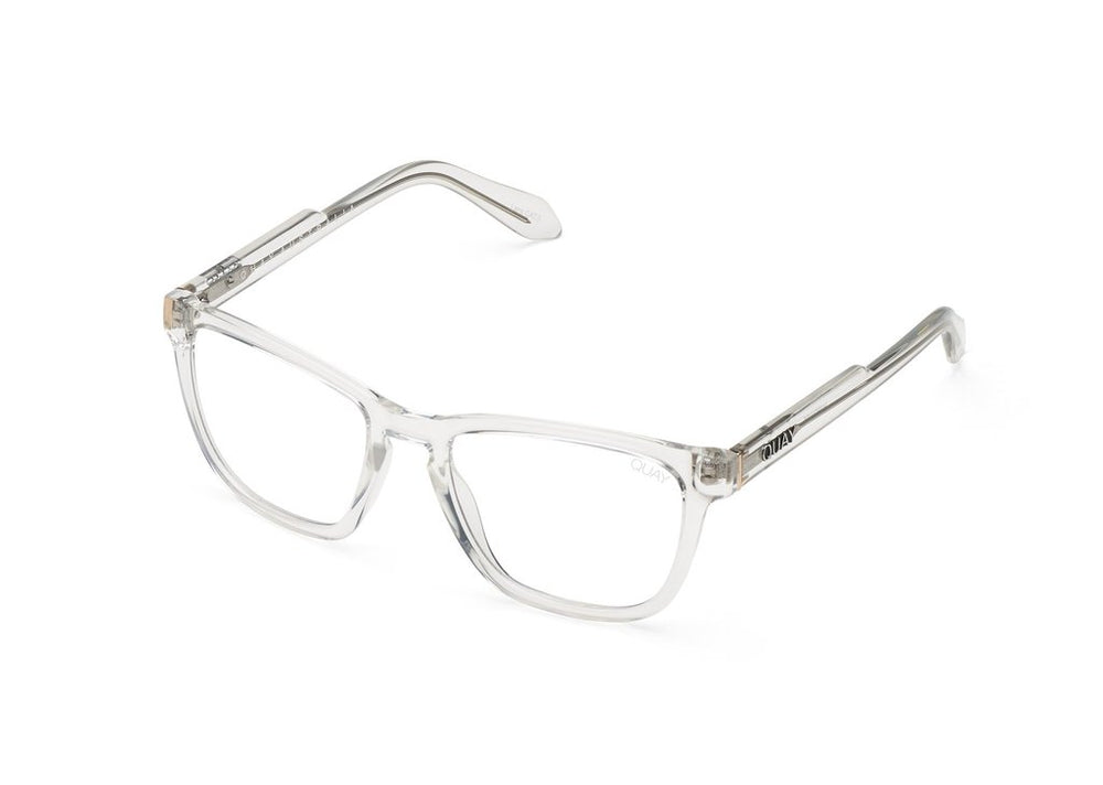 Clear glasses, Quay Hardwire with clear frames on white background.